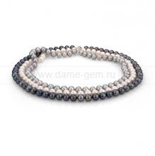 """Ожерелье """"микс"""" в 3 ряда из круглого речного жемчуга 8,5-9,5 мм. Артикул 10000"""