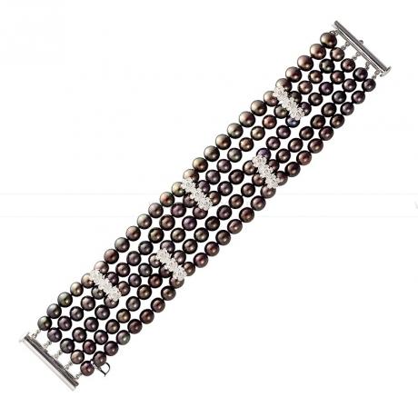 Браслет в 5 рядов из черного круглого речного жемчуга 6,5-7 мм. Артикул 10038