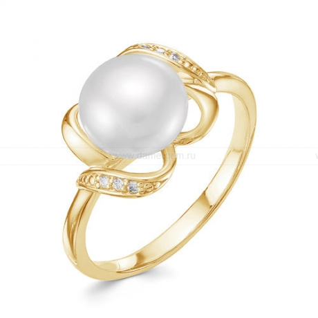 Кольцо из желтого золота с белой жемчужиной 8,5-9 мм. Артикул 10047
