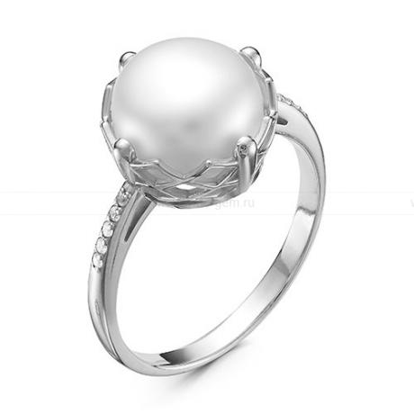 Кольцо из серебра с белой речной жемчужиной. Артикул 10049