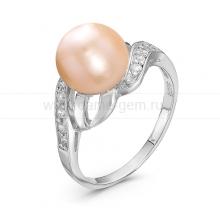 Кольцо из серебра с розовой жемчужиной 9-9,5 мм. Артикул 10050