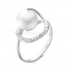 Кольцо из серебра с белой жемчужиной 8,5-9 мм. Артикул 10058
