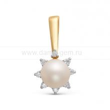 Кулон из золота с белой жемчужиной. Артикул 10072