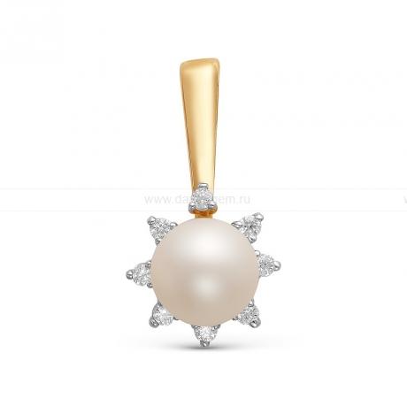 Кулон из желтого золота с белой жемчужиной 7,5-8 мм. Артикул 10072