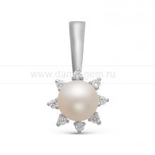Кулон из золота с белой жемчужиной. Артикул 10073