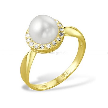 Кольцо из серебра с белой речной жемчужиной 8-8,5 мм. Артикул 10076