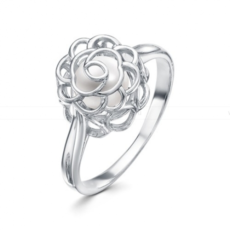 Кольцо из серебра с белой жемчужиной 6,5-7 мм. Артикул 10078