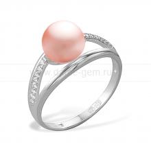 Кольцо из серебра с розовой жемчужиной 8,5-9 мм. Артикул 10080