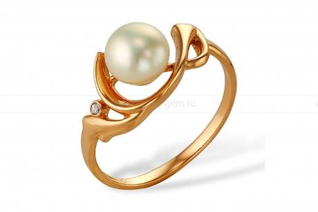 Кольцо из серебра с белой жемчужиной 7,5-8 мм. Артикул 10081