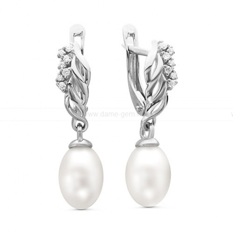 Серьги из серебра с белыми жемчужинами 7,5-8 мм. Артикул 10089