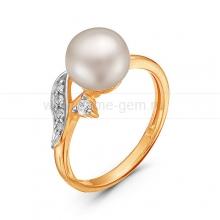 Кольцо из красного золота с белой жемчужиной 8,5-9 мм. Артикул 10101