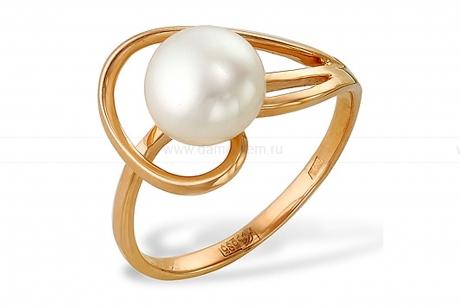 Кольцо из красного золота с белой жемчужиной 7,5-8 мм. Артикул 10102