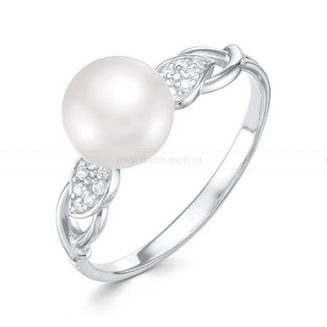Кольцо из белого золота с белой жемчужиной 7,5-8 мм. Артикул 10105