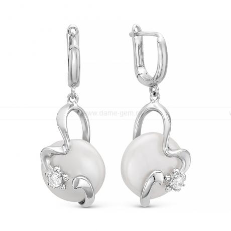 Серьги из серебра с белыми жемчужинами кеши 14 мм. Артикул 10108