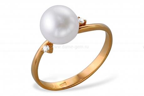 Кольцо из серебра с белой жемчужиной. Артикул 10116