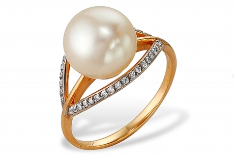 Кольцо из серебра с белой жемчужиной 8,5-9 мм. Артикул 10117