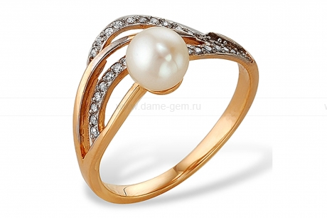 Кольцо из серебра с белой жемчужиной. Артикул 10118