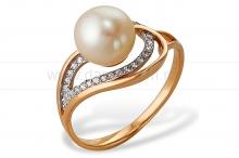 Кольцо из серебра с белой жемчужиной 8-8,5 мм. Артикул 10119
