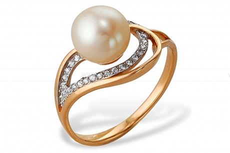 Кольцо из серебра с белой жемчужиной. Артикул 10119