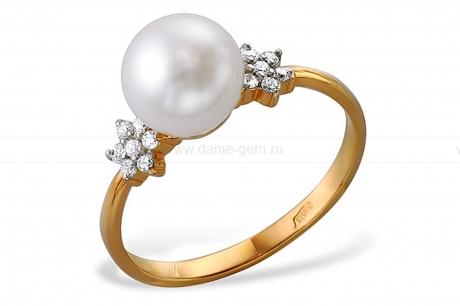 Кольцо из серебра с белой жемчужиной 7-7,5 мм. Артикул 10121