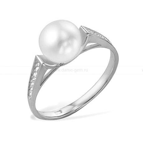 Кольцо из серебра с белой жемчужиной. Артикул 10123