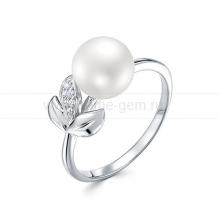 Кольцо из серебра с белой жемчужиной 8,5-9 мм. Артикул 10127