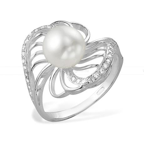 Кольцо из белого золота с белой жемчужиной 7,5-8 мм. Артикул 10128