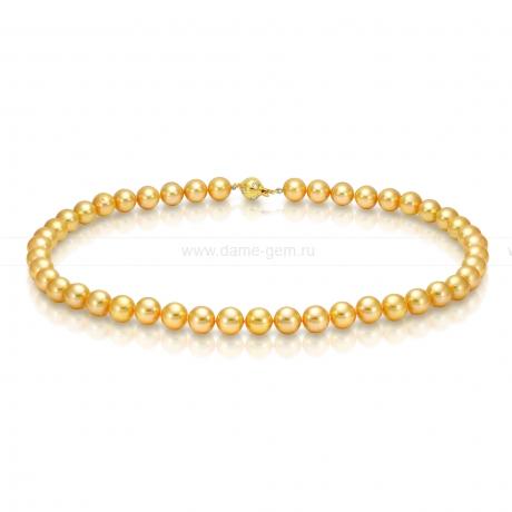 Ожерелье из золотистого морского жемчуга Акойя (Япония) 9-9,5 мм. Артикул 10136