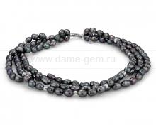Ожерелье 3-рядное из черного барочного речного жемчуга 9-10 мм. Артикул 10140