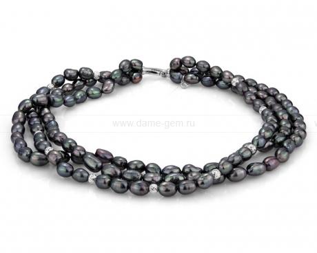 Ожерелье 3-рядное из черного жемчуга. Артикул 10140