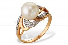 Кольцо из золота с белой жемчужиной. Артикул 10147