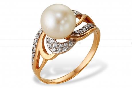 Кольцо из красного золота с белой жемчужиной 7-7,5 мм. Артикул 10147