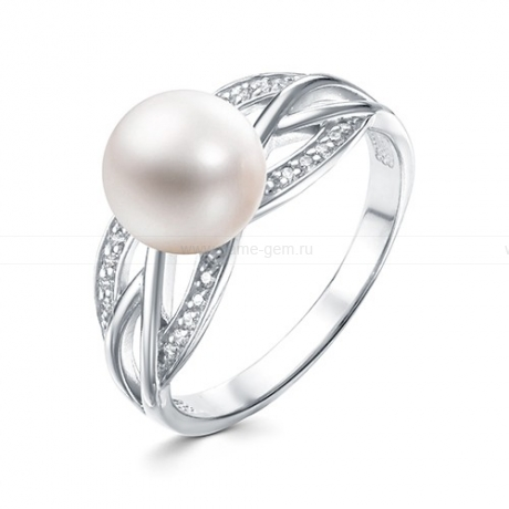 Кольцо из белого золота с белой жемчужиной 7,5-8 мм. Артикул 10148