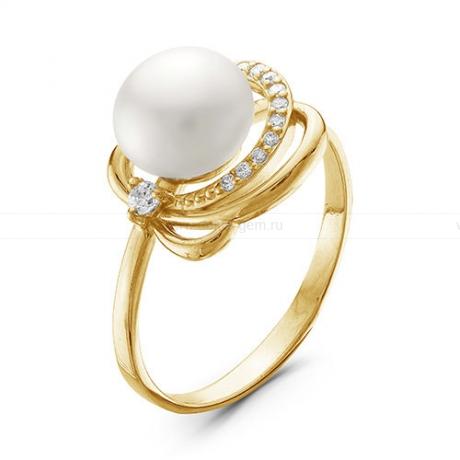 Кольцо из желтого золота с белой жемчужиной 7-7,5 мм. Артикул 10150