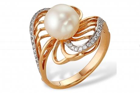 Кольцо из красного золота с белой жемчужиной 7,5-8 мм. Артикул 10151