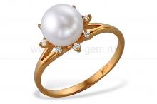 Кольцо из золота с белой жемчужиной. Артикул 10152