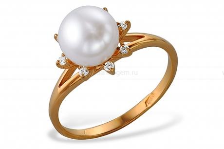 Кольцо из красного золота с белой жемчужиной 7-7,5 мм. Артикул 10152
