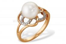 Кольцо из золота с белой жемчужиной. Артикул 10153