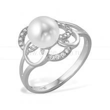 Кольцо из белого золота с белой жемчужиной 7-7,5 мм. Артикул 10154