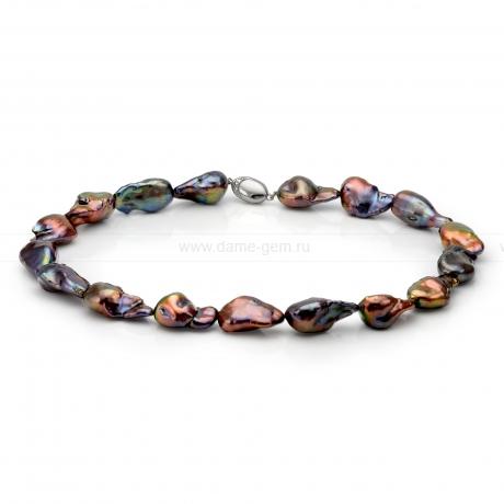 Колье (ожерелье) из черного барочного речного жемчуга. Артикул 10162