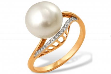 Кольцо из серебра с белой жемчужиной. Артикул 10166