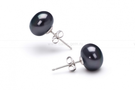 Пусеты из серебра с черными жемчужинами 8,5-9 мм. Артикул 10176