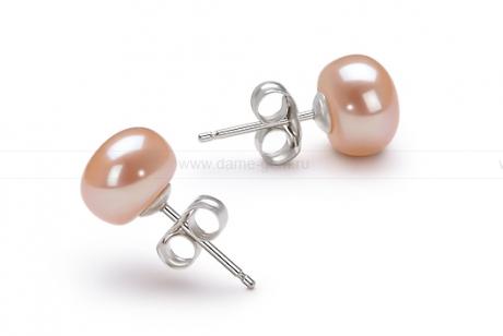 Пусеты из серебра с розовыми жемчужинами 8,5-9 мм. Артикул 10181