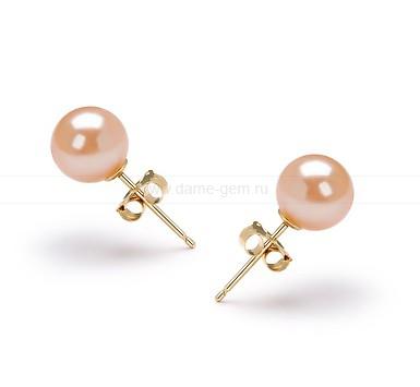 Пусеты из серебра с розовыми жемчужинами 6,5-7 мм. Артикул 10182