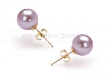 Пусеты из серебра с розовыми жемчужинами 8,5-9 мм. Артикул 10187