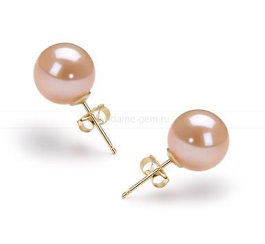 Пусеты из серебра с розовыми жемчужинами 10-10,5 мм. Артикул 10189