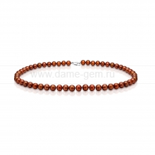 Ожерелье из круглого речного шоколадного жемчуга 6,5-7 мм. Артикул 10192