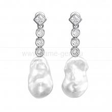 Серьги из серебра с белыми барочными жемчужинами 13-15 мм. Артикул 10195