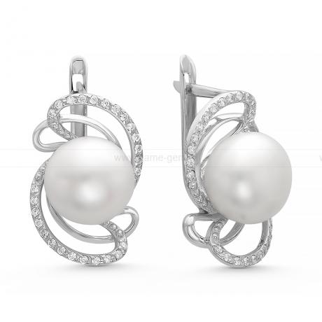 Серьги из серебра с белыми жемчужинами 9,5-10 мм. Артикул 10199