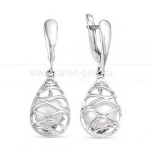 Серьги из серебра с белыми жемчужинами 8-8,5 мм. Артикул 10218
